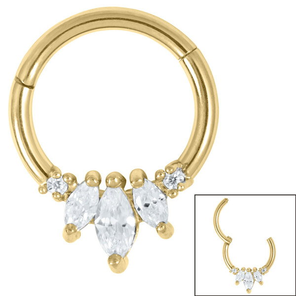 Gold Marquise Fan Triple Gem Ring