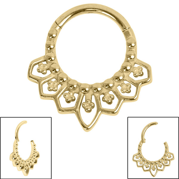 Gold Mandala Clicker Ring