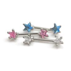 Gem Star Nipple Bar (Clear & Pink Gems)