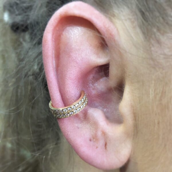 Double Jewelled 24K Gold Conch Ring