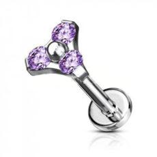 Titanium Trinity Studs With Purple CZ Gems