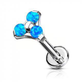 Titanium Trinity Studs With Blue Opal
