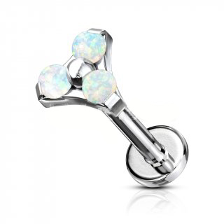Trinity Stud With White Opal