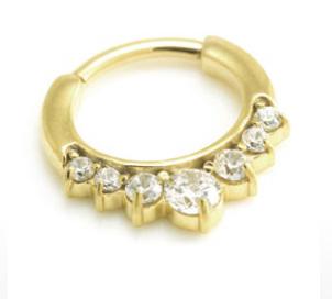 24 Karat Gold 7 Gem Clicker Ring