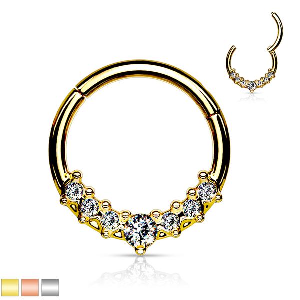7 Gem Gold Clicker Ring