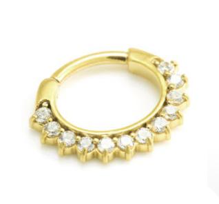 24 Karat Gold 12 Gem Clicker Ring