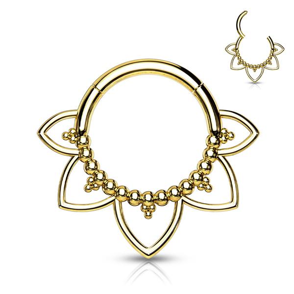 Filigree Mandala Clicker Ring Gold