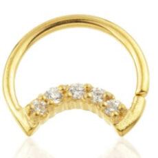 24 karat Gold Daith Moon With Gems