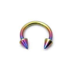 Rainbow Coloured Titanium Open Septum Ring With Spikes