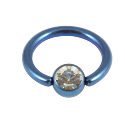 Blue Colour Titanium Nipple Ring With Clear Ball