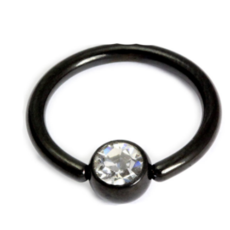 Black Septum Ring With Clear Gem