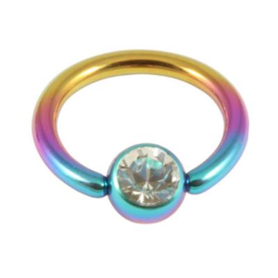 Rainbow Colour Titanum Ring With Clear Gem Ball