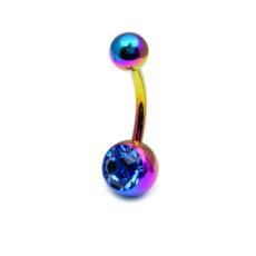 Titanium Rainbow Coloured Belly Bar With Dark Blue Gem
