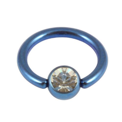 Dark Blue Titanium Ring With Clear Gem