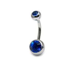 Belly Bar With Dark Blue Gems