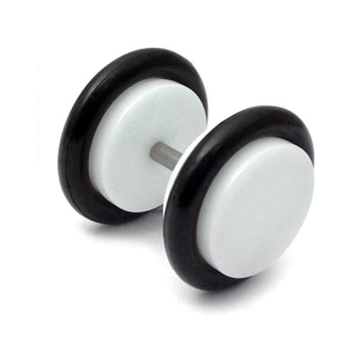 White Flat Disc - Fake Plug Style Ear Studs