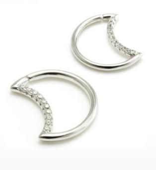 Silver Daith Moon With Clear Gems