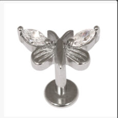 Butterfly Ear Stud With Clear Gems