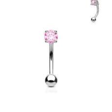 Pink Gem Set Curved Barbell