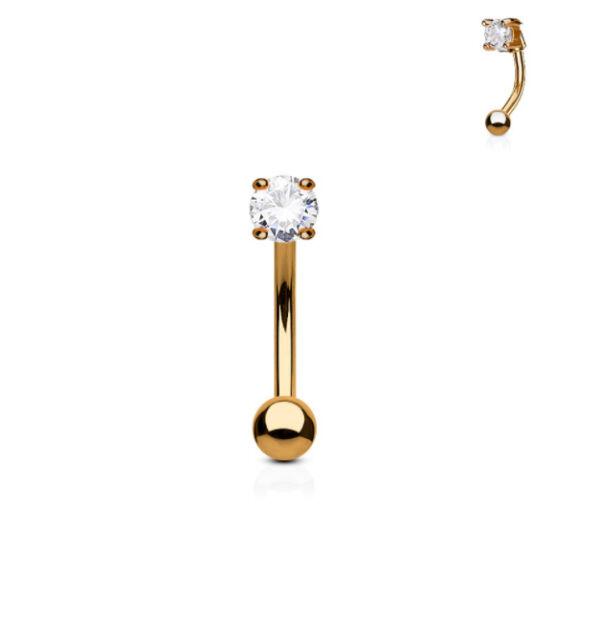 Rose Gold Gem Set Curved Barbell