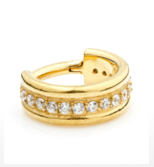 Jewelled 24K Gold Tragus Ring