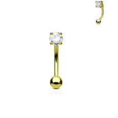 Gold Gem Set Curved Barbell