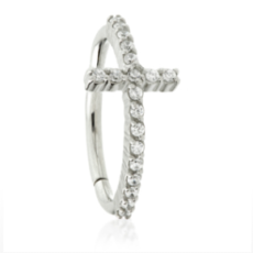 Cross Jewelled Edge Clicker Conch Ring