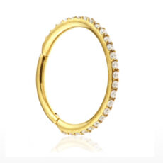 24K Gold Conch Ring Clear Crystal Gem Stones