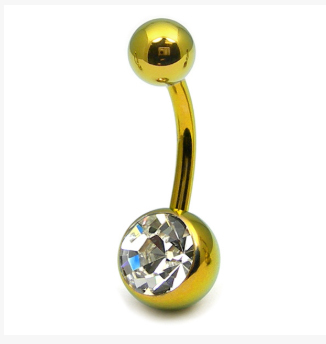 Titanium Yellow Gold Belly Bar With Clear Gem