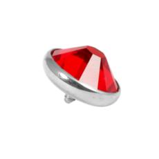 Titanium Dermal Top With Red Sapphire Gem