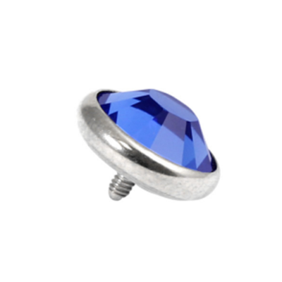 Titanium Dermal Top With Blue Sapphire Gem