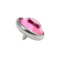 Titanium Dermal Top With Pink Gem