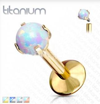 Gold Titanium flat Back Opal Stud