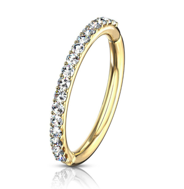 Premium Range Gold Clicker Ring With Clear Gem Edge