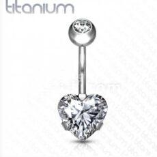 Titanium Belly Bar With Heart Gem
