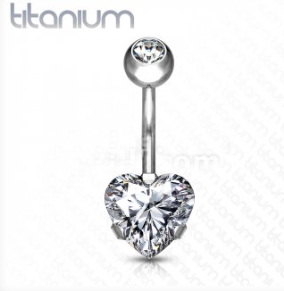 Titanium Belly Bar With Heart Gem