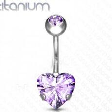 Titanium Belly Bar With Purple Heart Gem