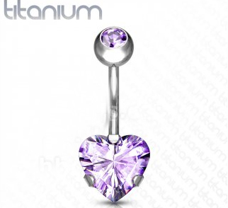 Titanium Belly Bar With Purple Heart Gem