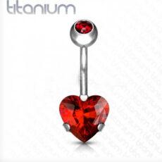 Titanium Belly Bar With Red Heart Gem