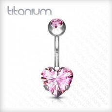 Titanium Belly Bar With Pink Heart Gem