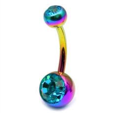 Rainbow Titanium Belly Bar With Light Blue Gems