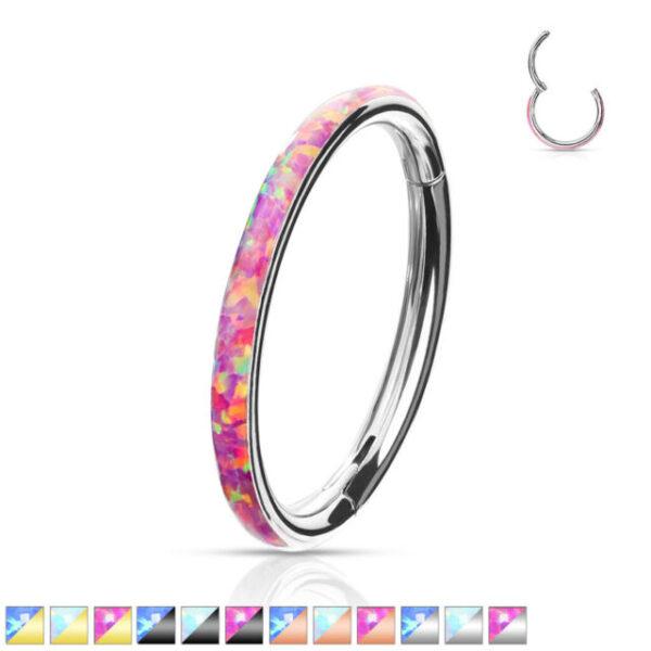 Pink Opal Edge Segment Conch Ring